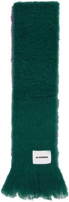 Jil Sander Green and Purple Mohair Scarf