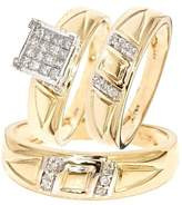 My Trio Rings 1/2 CT. T.W. Round, Princess Cut Diamond His and Hers Trio Matching Wedding Ring Set 14K Yellow Gold - Size 4