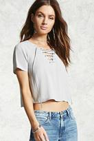 Forever 21 Woven Lace-Up Top