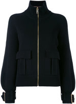 Burberry buckle cuff ribbed zip cardigan