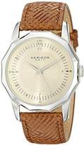 Akribos XXIV Men's AK825SSBR Quartz Movement Watch with Yellow Gold Dial and Brown Leather Strap