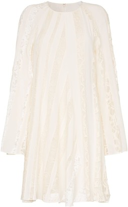 Chloé Lace stripe cotton blend peasant dress