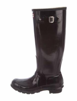 Hunter Leather Trim Embellishment Rain Boots Black