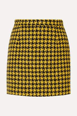 Alessandra Rich Houndstooth Wool-blend Tweed Mini Skirt - Yellow