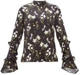 Erdem Louella Daffodil-print Silk Blouse - Womens - Black Print