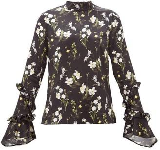 Erdem Louella Daffodil-print Silk Blouse - Black Print