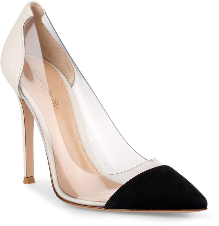 Gianvito Rossi Plexi 105 black and white pumps