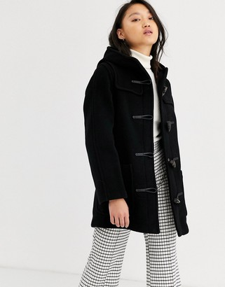 Gloverall Gloveral mid length duffle coat in wool blend-Black