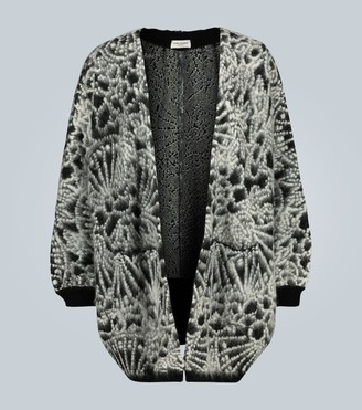 Saint Laurent Oversized brushed jacquard cardigan