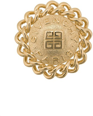 Givenchy Pre Owned 1980s Logo 18kt Gold Plated Brooch