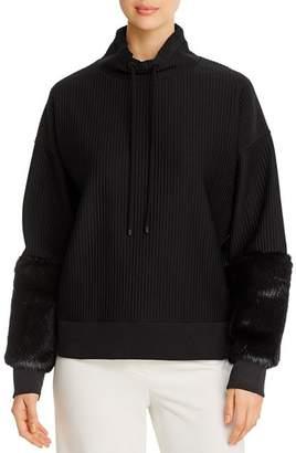 Elie Tahari Nixie Faux-Fur Trimmed Sweater