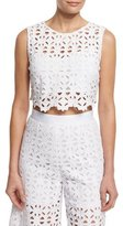 Miguelina Ruby Crocheted-Lace Crop Top