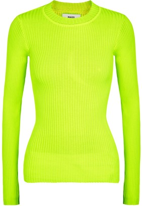 Mads Norgaard Kastina neon yellow ribbed-knit top