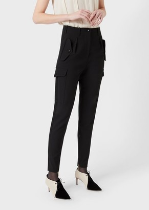 Giorgio Armani Stretch Wool, Darted Cargo Trousers