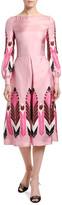 Valentino Silk Long-Sleeve Midi Dress