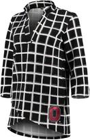 Unbranded Women's Black Ohio State Buckeyes In It To Win It Window Pane V-Neck 3/4-Sleeve Blouse