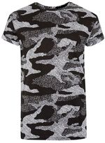 Topman Black and White Camo Muscle Fit T-Shirt