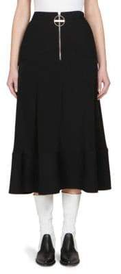 Givenchy Pleated Crepe de Chine Skirt