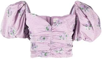 Giuseppe di Morabito Floral-Print Puff-Sleeve Cropped Top