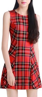 Allegra K Women's Tartan Dresses Round Neck Flare Sleeveless Mini A-line Dress Red 8