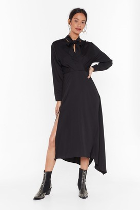 Nasty Gal Womens Say Good-tie Satin Midi Dress - Black - S, Black