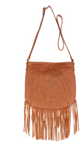 Cognac Cutout Fringe-Trim Crossbody Bag