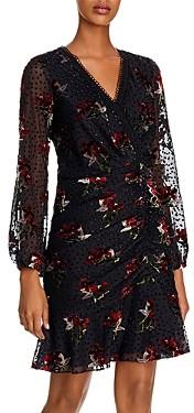 Shoshanna Julietta Bouquet Toss Velvet-Detail Dress