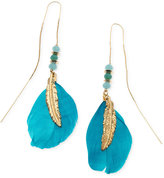 GUESS Gold-Tone Beaded Feather Threader Drop Earrings