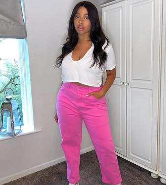 ASOS DESIGN Curve high rise stretch 'slim' straight leg jeans in bubblegum pink
