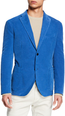 Boglioli Men's Corduroy Two-Button Jacket, Blue