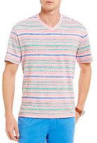 Daniel Cremieux Reversible Stripe V-Neck Short-Sleeve Jersey Tee