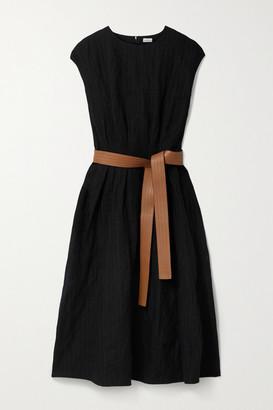 Loewe Leather-trimmed Belted Metallic Wool-blend Twill Midi Dress - Black