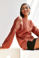 BDG Cable Knit Balloon-Sleeve Sweater