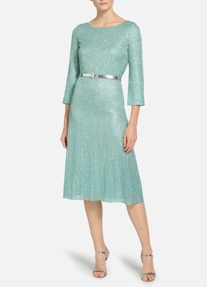 St. John Tinsel Knit Fit & Flare Dress