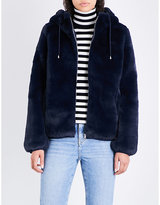 Maje Ladies Blue Concealed Zip Baya Hooded Faux-Fur Jacket