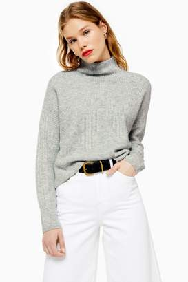 Topshop Womens Grey Knitted Cropped Funnel Neck Jumper - Grey Marl