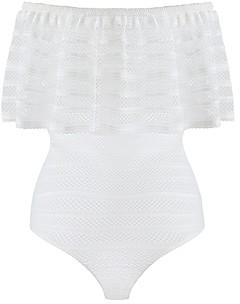 BCBGMAXAZRIA Lace Ruffle Bodysuit