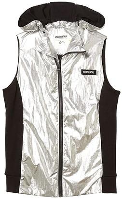 Nununu Duo Nylon Hooded Vest (Little Kids/Big Kids) (Silver/Black) Boy's Clothing