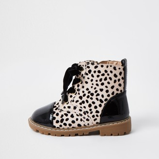 River Island Mini girls Brown leopard print clumpy boots