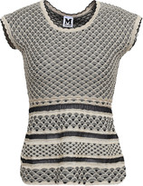 M Missoni Metallic Crochet-knit Peplum Top