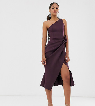 ASOS DESIGN Tall one shoulder tucked peplum pencil midi dress