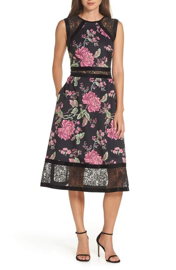 Tadashi Shoji Sleeveless Floral Print Midi Dress