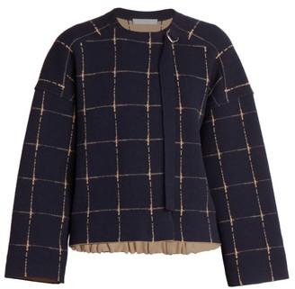Chloé Grid-Print Merino Wool & Cashmere Jacquard Jacket