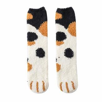Musheng Sock Woman Coral Paws Patten Socks Thick Warm Sleep Socks Ladies Cosy Soft Fleece Non Slip Slipper/Lounge Bed Socks (White)