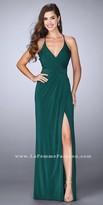 La Femme Cascading Rhinestone Embellished Jersey Pleated Prom Dress