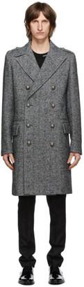 Balmain Grey and Black Herringbone Double-Breasted Coat