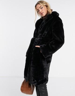 New Look longline belted faux fur coat in black