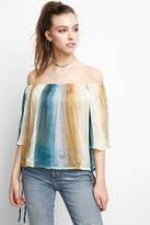 Anama Â3⁄4 Sleeve Crinkle Printed Peasant Top