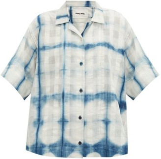 Story mfg. Bowling Tie-dye Organic-cotton Short-sleeved Shirt - Blue White