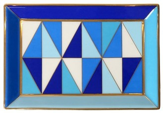 Jonathan Adler Sorrento Rectangle Porcelain Tray W/gold
